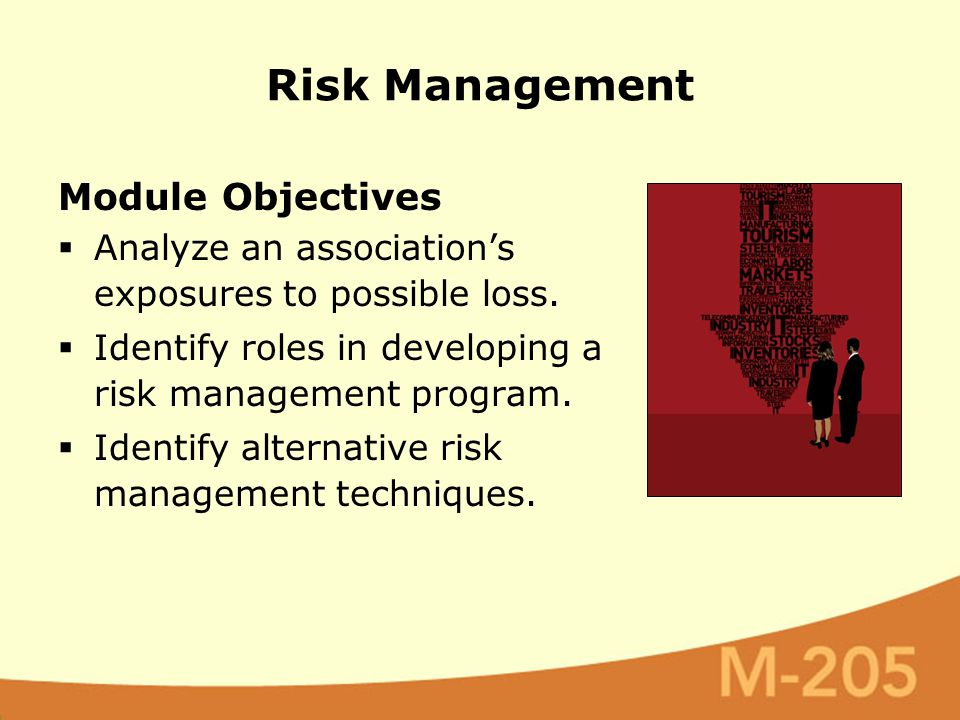 Module Objectives  Analyze an association's exposures to possible loss.