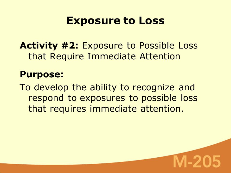 Activity #2: Exposure to Possible Loss that Require Immediate Attention Purpose: To develop the ability to recognize and respond to exposures to possible loss that requires immediate attention.