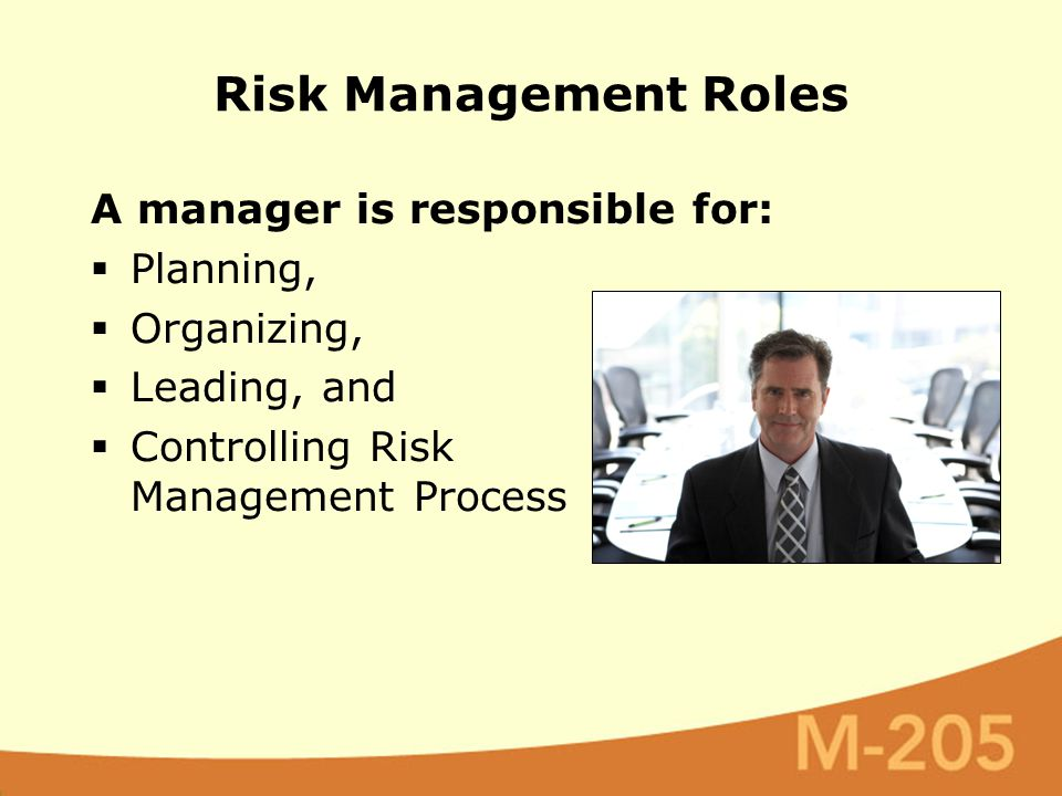 A manager is responsible for:  Planning,  Organizing,  Leading, and  Controlling Risk Management Process Risk Management Roles