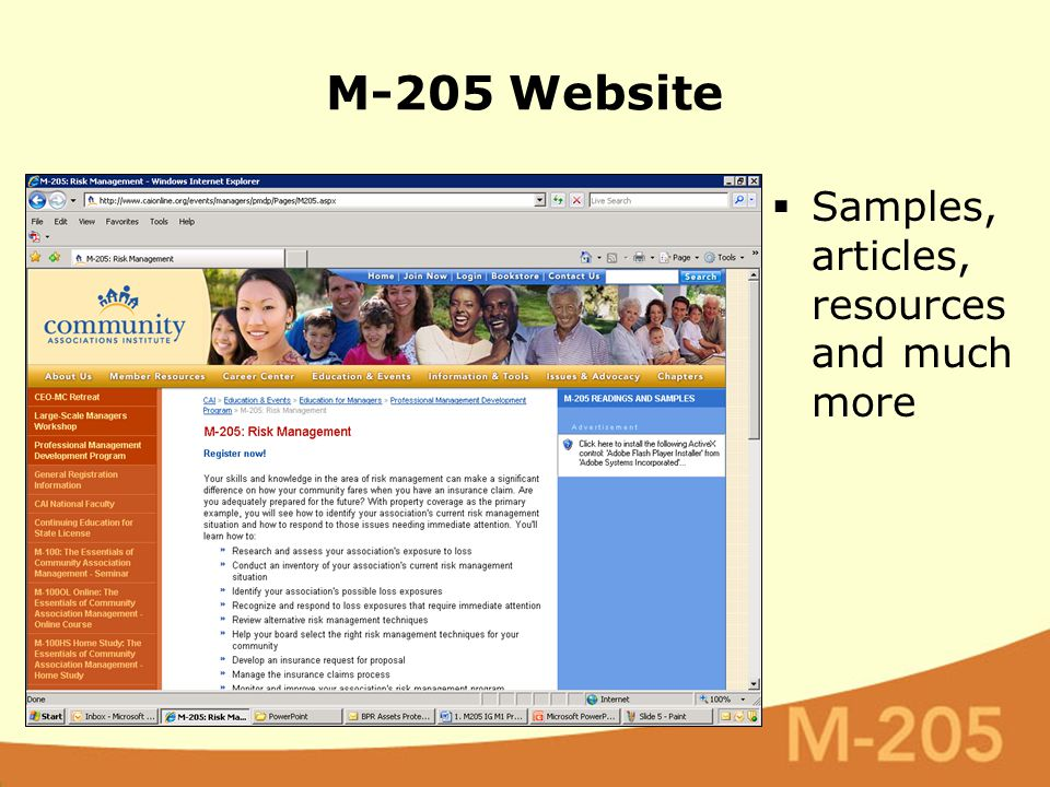 M-205 Website  Samples, articles, resources and much more