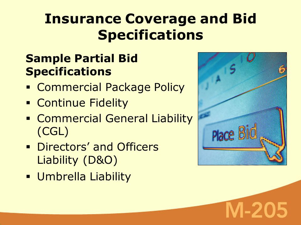 Sample Partial Bid Specifications  Commercial Package Policy  Continue Fidelity  Commercial General Liability (CGL)  Directors' and Officers Liabi