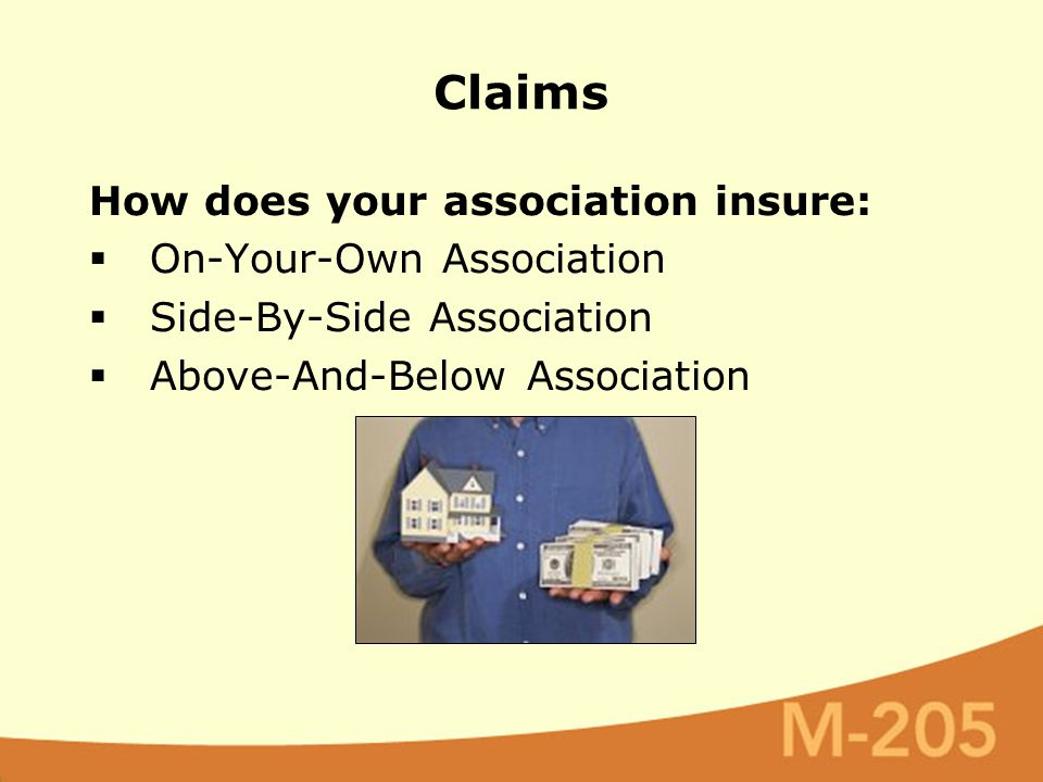 How does your association insure:  On-Your-Own Association  Side-By-Side Association  Above-And-Below Association Claims