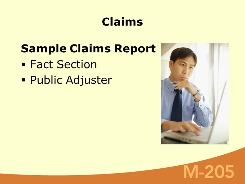 Sample Claims Report  Fact Section  Public Adjuster Claims