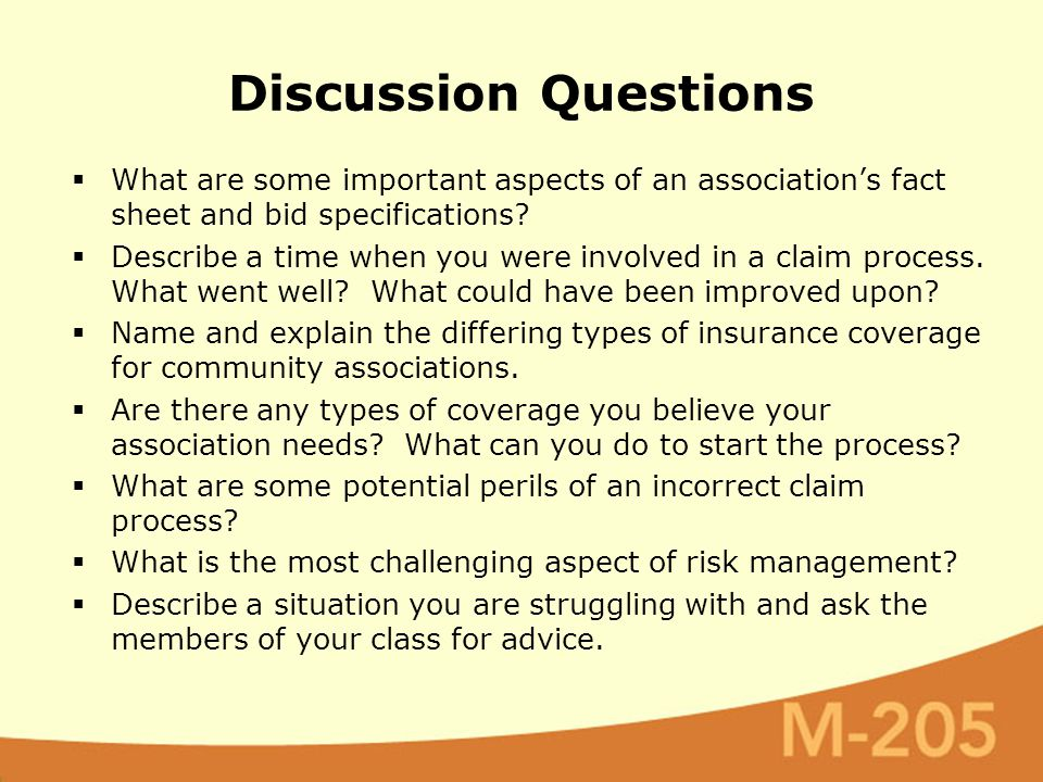 Discussion Questions  What are some important aspects of an association's fact sheet and bid specifications.