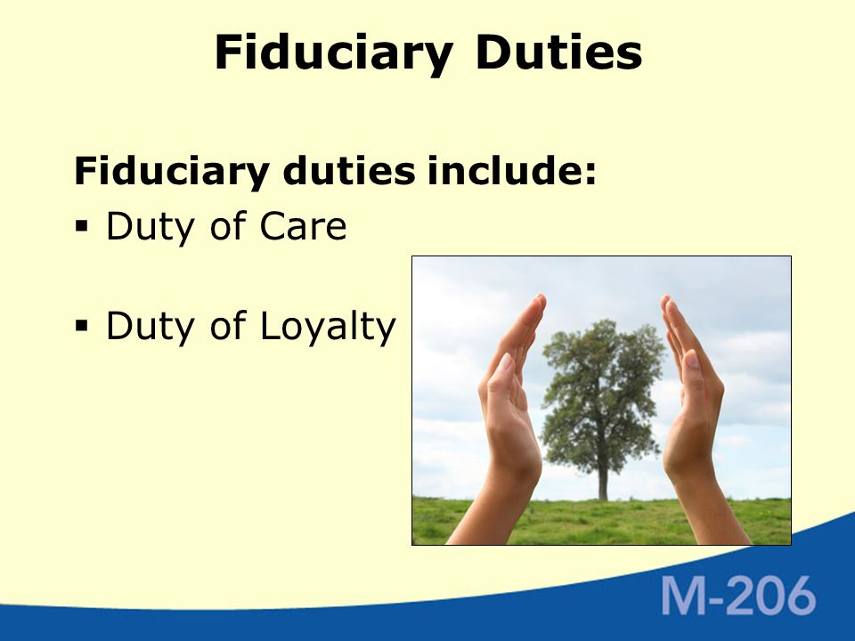 Fiduciary Duties Fiduciary duties include:  Duty of Care  Duty of Loyalty