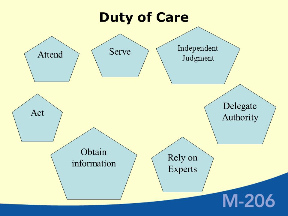 Duty of Care Act Serve Delegate Authority Independent Judgment Attend Obtain information Rely on Experts