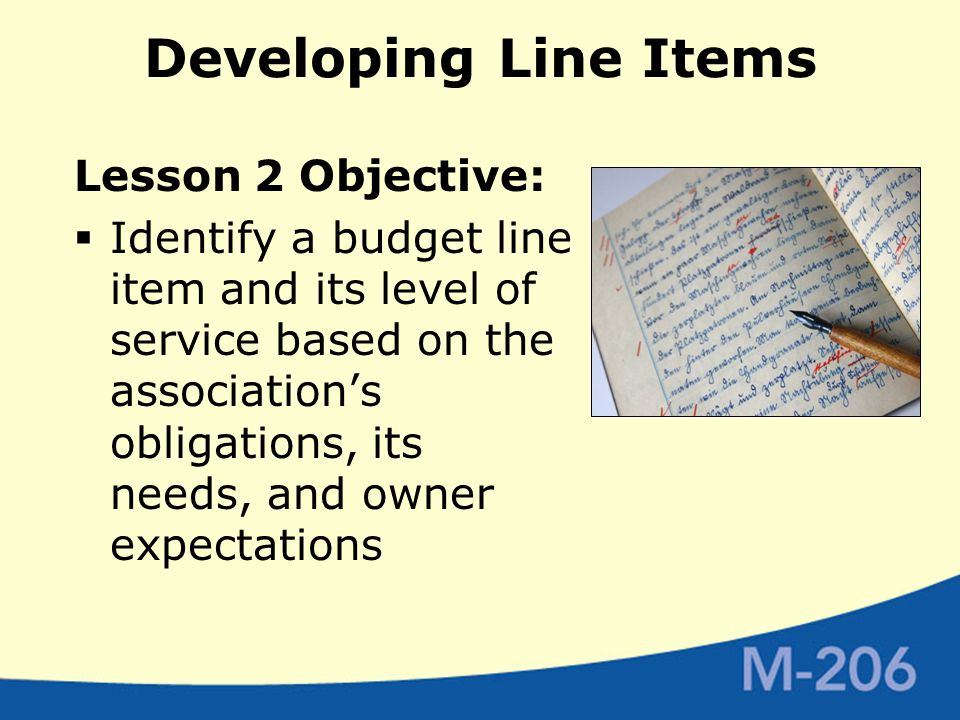 Developing Line Items Lesson 2 Objective:  Identify a budget line item and its level of service based on the association's obligations, its needs, and owner expectations