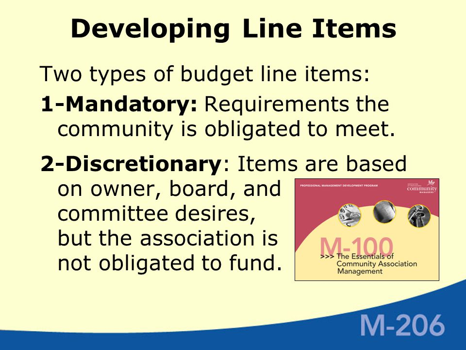 Developing Line Items Two types of budget line items: 1-Mandatory: Requirements the community is obligated to meet.