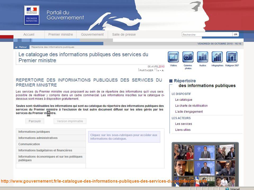 Paris – 13-15 octobre 2010 7 http://www.gouvernement.fr/le-catalogue-des-informations-publiques-des-services-du-premier-ministre