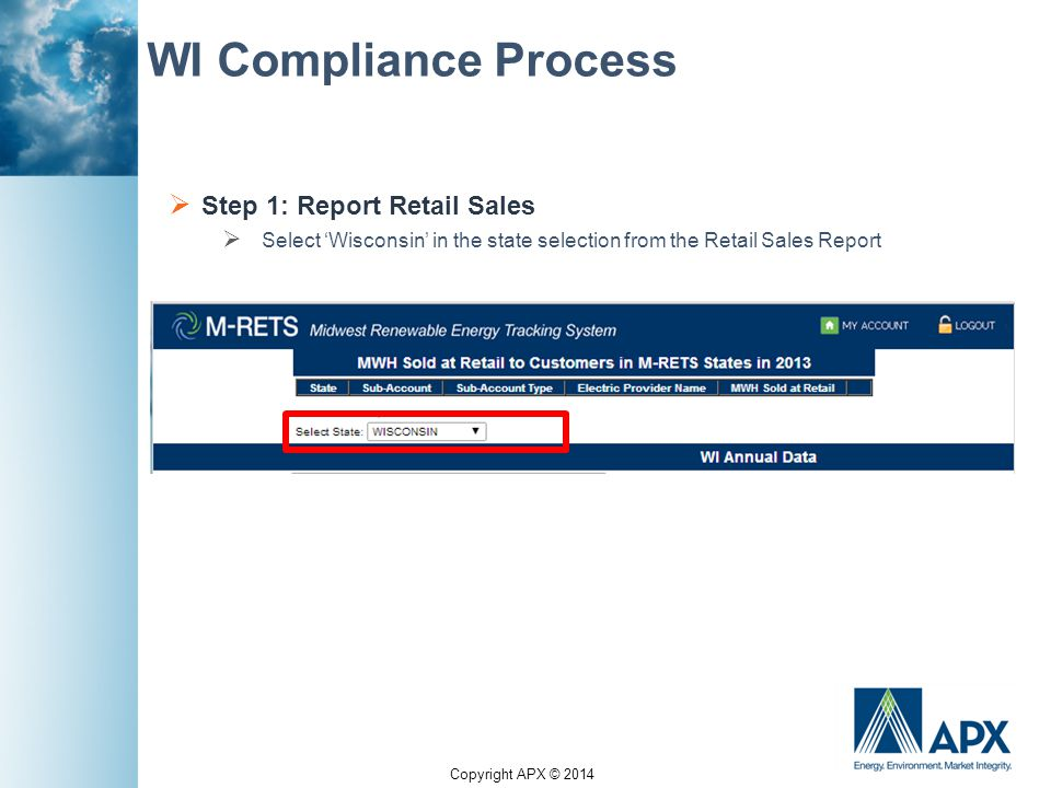 Copyright APX © 2014 WI Compliance Process  Step 1: Report Retail Sales  Select 'Wisconsin' in the state selection from the Retail Sales Report
