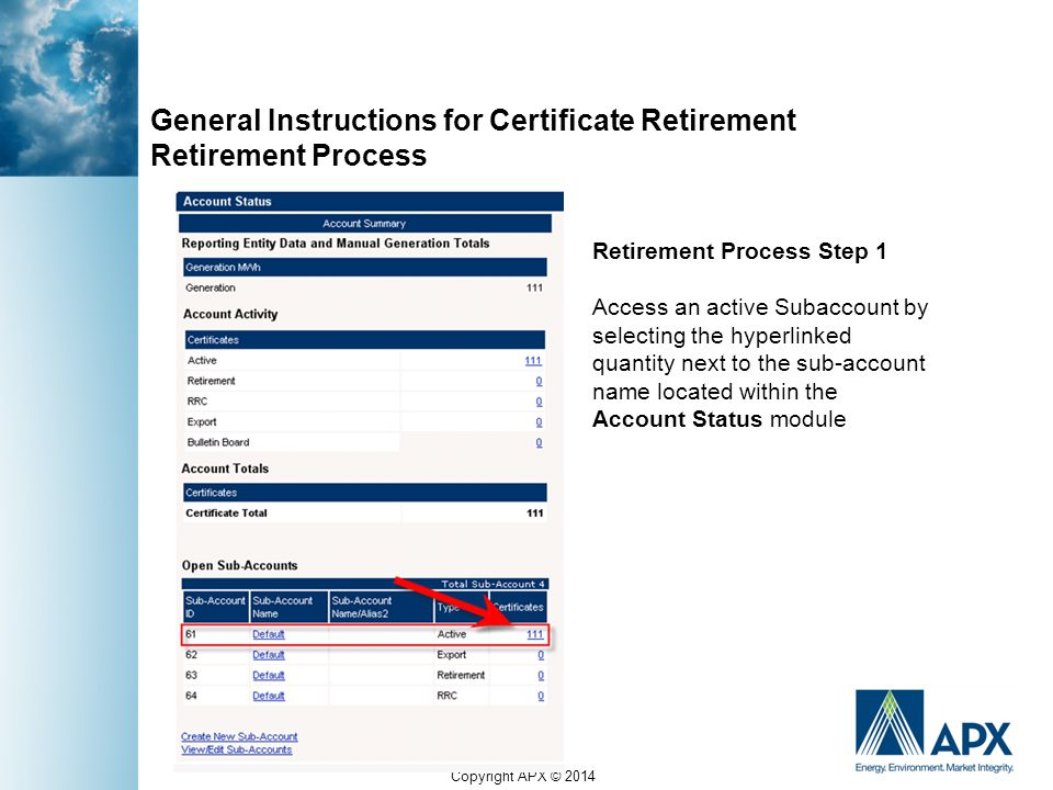 Copyright APX © 2014 General Instructions for Certificate Retirement Retirement Process Retirement Process Step 1 Access an active Subaccount by selec