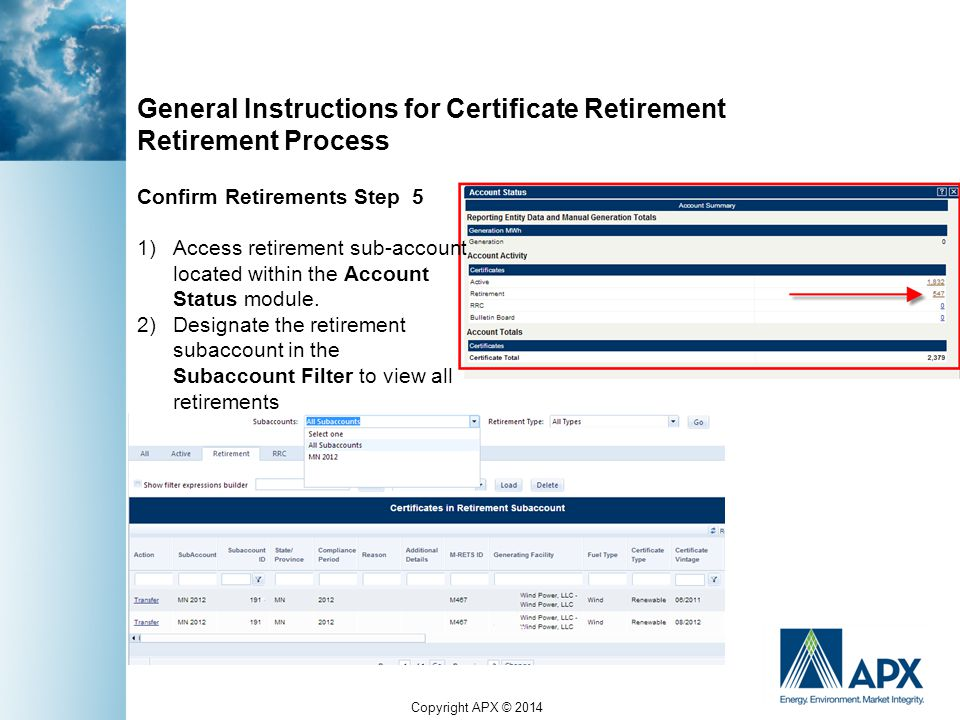 Copyright APX © 2014 General Instructions for Certificate Retirement Retirement Process Confirm Retirements Step 5 1)Access retirement sub-account located within the Account Status module.