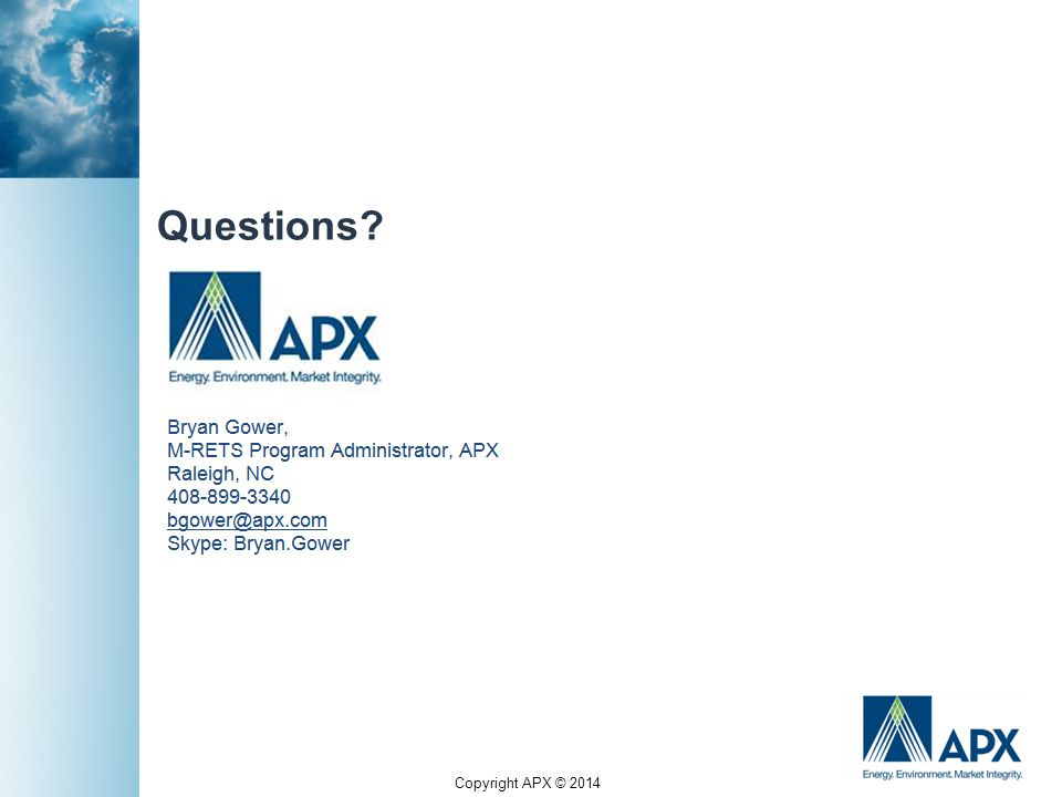 Copyright APX © 2014 Questions