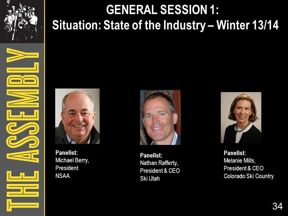 34 Panelist: Michael Berry, President NSAA Panelist: Nathan Rafferty, President & CEO Ski Utah Panelist: Melanie Mills, President & CEO Colorado Ski C