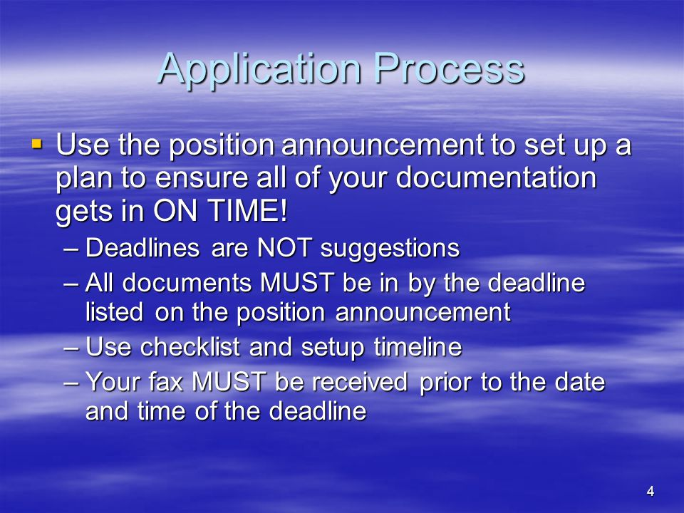 5 Application Process  Read each position announcement carefully as the required documents may vary greatly from one district to another, and from one division to another within the same district  For EVERY document you submit make sure it is NEAT, NO SPELLING ERRORS, NO PUNCTUATION OR GRAMMATICAL ERRORS