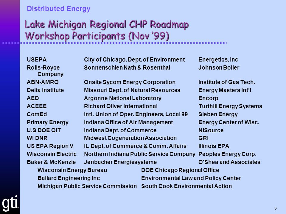 Distributed Energy 7 National CHP Roadmap Workshop Participants (Oct '00) Solar TurbinesGas Technology Institute Dow Chemical CompanyMichigan Consolidated Gas Company ACEEETrigen Energy Corporation Alliance to Save EnergyEnvironmental Law and Policy Center Oak Ridge National LaboratoryU.S.