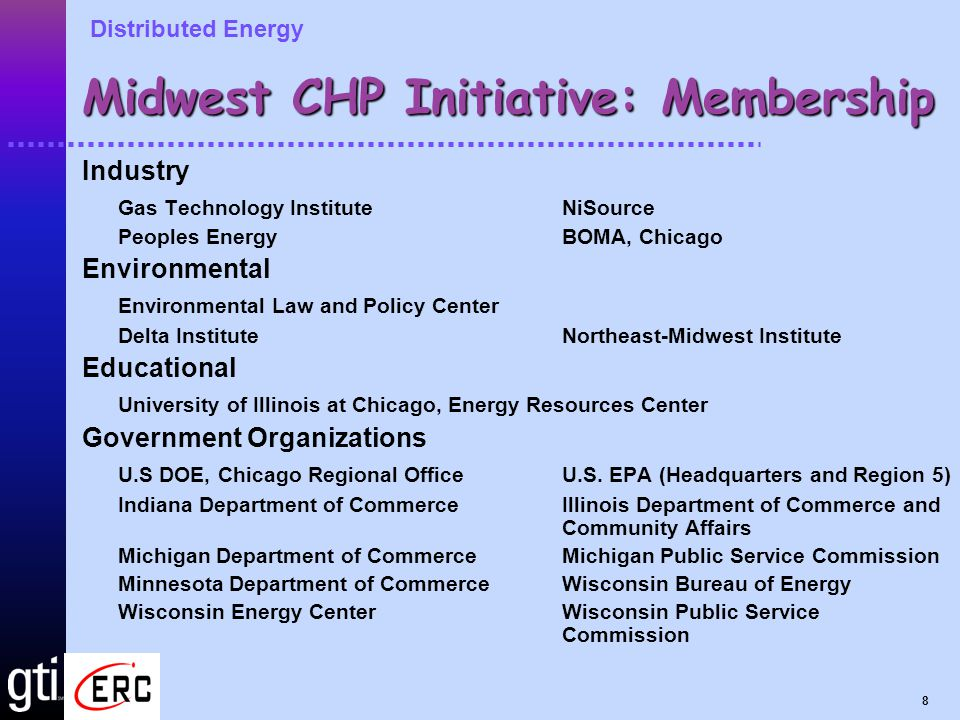 Distributed Energy 19 For Information Contact: Midwest CHP Initiative: Ted Bronson, GTI 847-768-0637 John Moore, ELPC312-795-3706 Gary Nowakowski, DOE CRO312-886-8575 Midwest CHP for Buildings Application Center: John Cuttica, UIC ERC312-996-4382 Leslie Farrar, UIC ERC312-413-3835 John Kelly, GTI847-768-0637