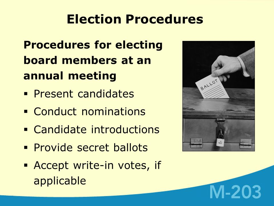 Election Procedures Procedures for electing board members at an annual meeting  Present candidates  Conduct nominations  Candidate introductions  Provide secret ballots  Accept write-in votes, if applicable