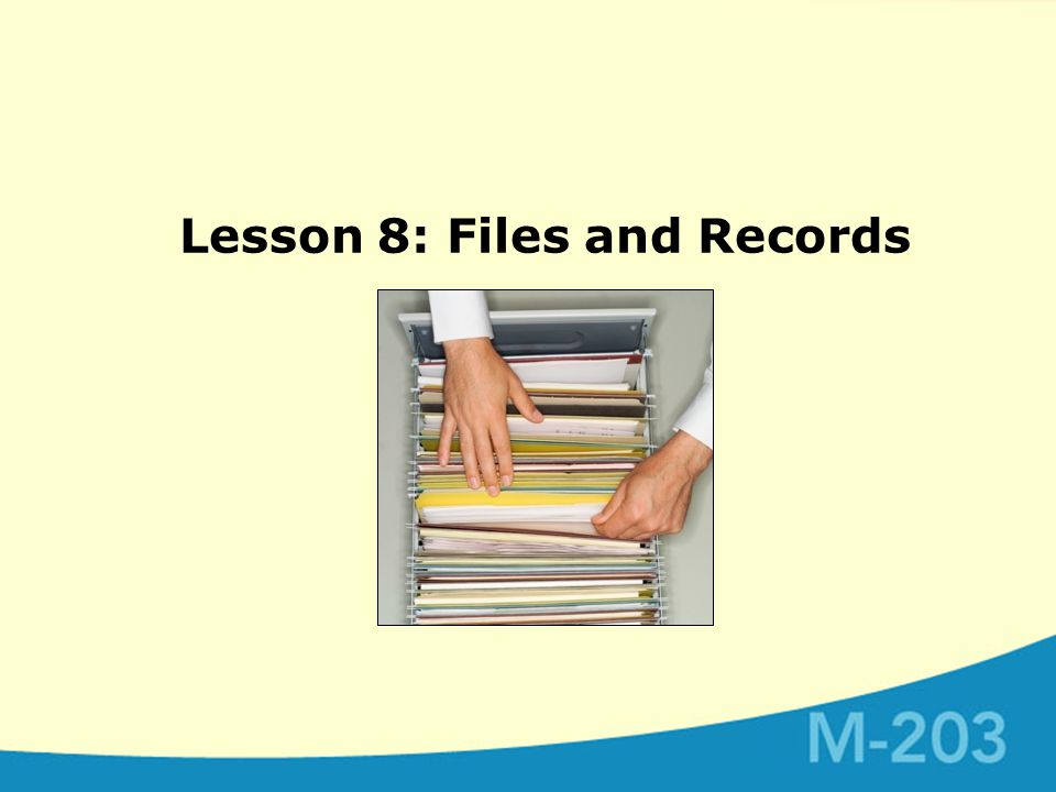 Lesson 8: Files and Records