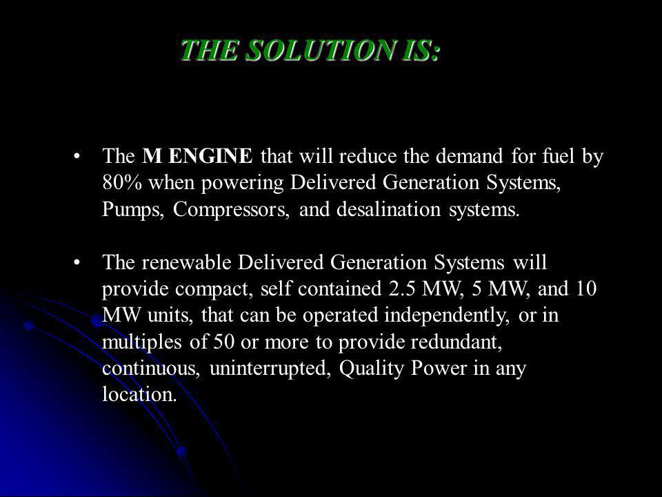 The M ENGINE that will reduce the demand for fuel by 80% when powering Delivered Generation Systems, Pumps, Compressors, and desalination systems.