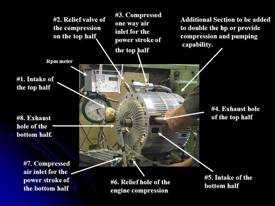 #5.Intake of the bottom half #6. Relief hole of the engine compression #7.