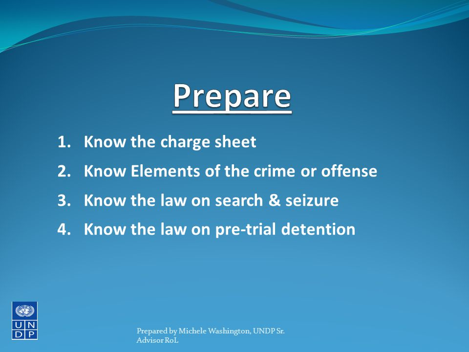 1.Know the charge sheet 2.Know Elements of the crime or offense 3.Know the law on search & seizure 4.Know the law on pre-trial detention Prepared by Michele Washington, UNDP Sr.