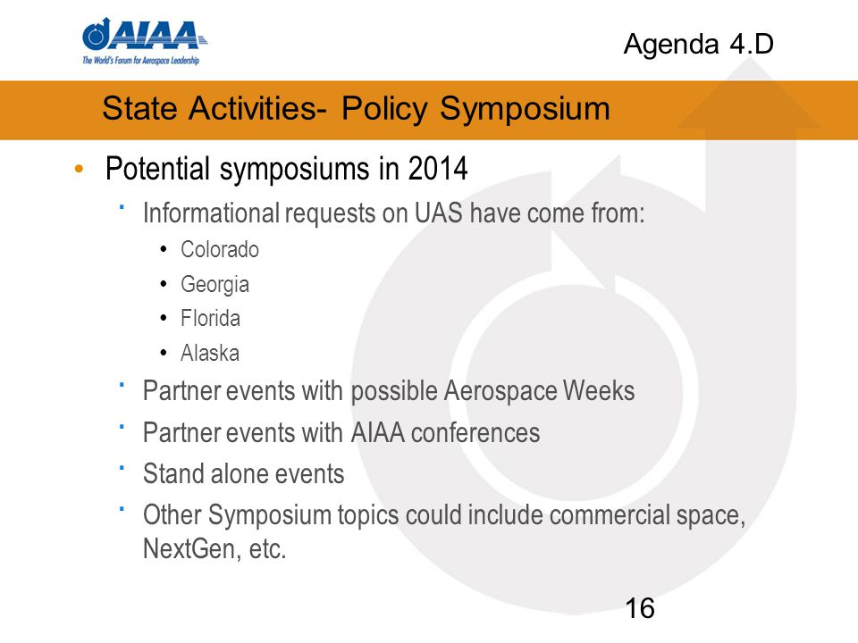 State Activities- Policy Symposium Potential symposiums in 2014 · Informational requests on UAS have come from: Colorado Georgia Florida Alaska · Part