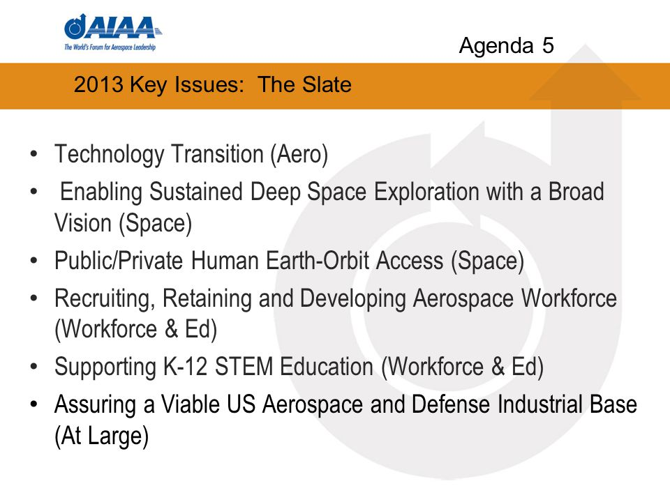 2013 Key Issues: The Slate Technology Transition (Aero) Enabling Sustained Deep Space Exploration with a Broad Vision (Space) Public/Private Human Earth-Orbit Access (Space) Recruiting, Retaining and Developing Aerospace Workforce (Workforce & Ed) Supporting K-12 STEM Education (Workforce & Ed) Assuring a Viable US Aerospace and Defense Industrial Base (At Large) Agenda 5
