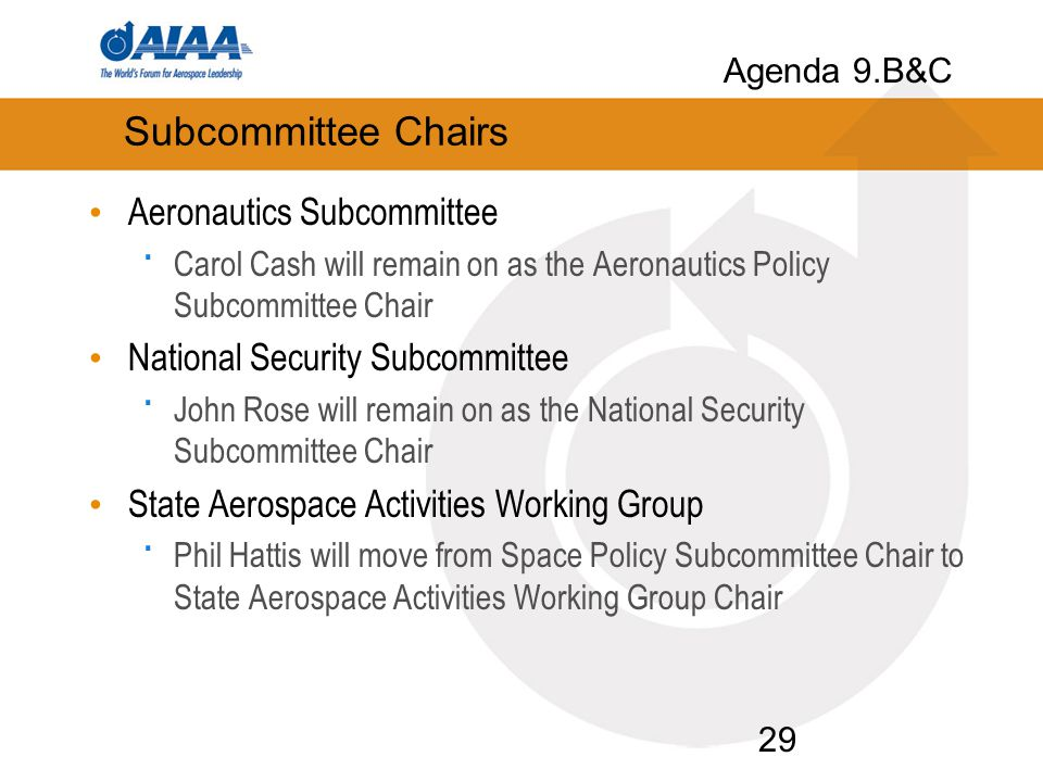 Subcommittee Chairs Aeronautics Subcommittee · Carol Cash will remain on as the Aeronautics Policy Subcommittee Chair National Security Subcommittee · John Rose will remain on as the National Security Subcommittee Chair State Aerospace Activities Working Group · Phil Hattis will move from Space Policy Subcommittee Chair to State Aerospace Activities Working Group Chair 29 Agenda 9.B&C