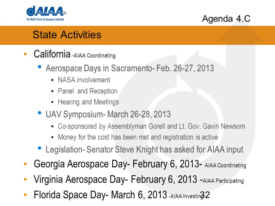 State Activities California -AIAA Coordinating Aerospace Days in Sacramento- Feb.