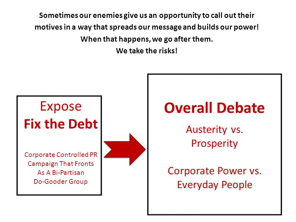 Expose Fix the Debt Corporate Controlled PR Campaign That Fronts As A Bi-Partisan Do-Gooder Group Overall Debate Austerity vs. Prosperity Corporate Po