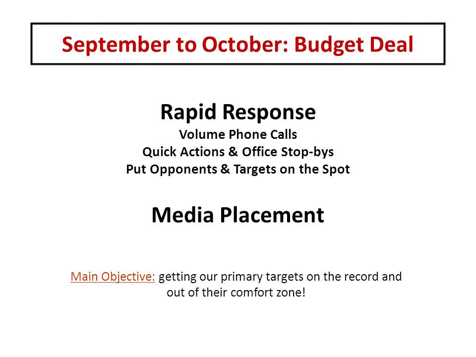 September to October: Budget Deal Rapid Response Volume Phone Calls Quick Actions & Office Stop-bys Put Opponents & Targets on the Spot Media Placemen