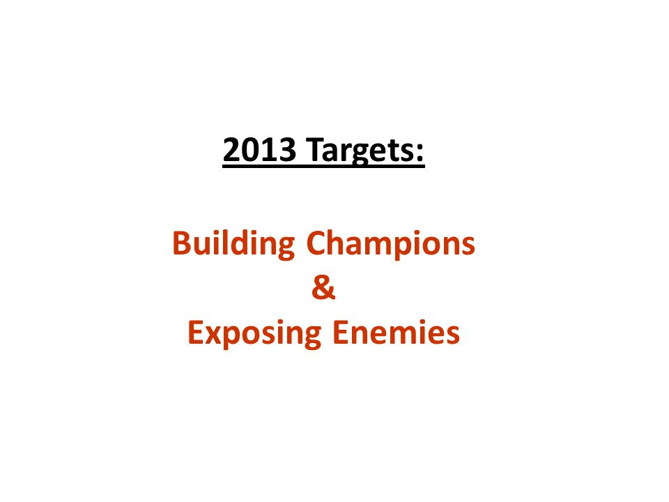 2013 Targets: Building Champions & Exposing Enemies
