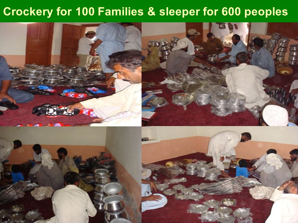 Crockery for 100 Families & sleeper for 600 peoples