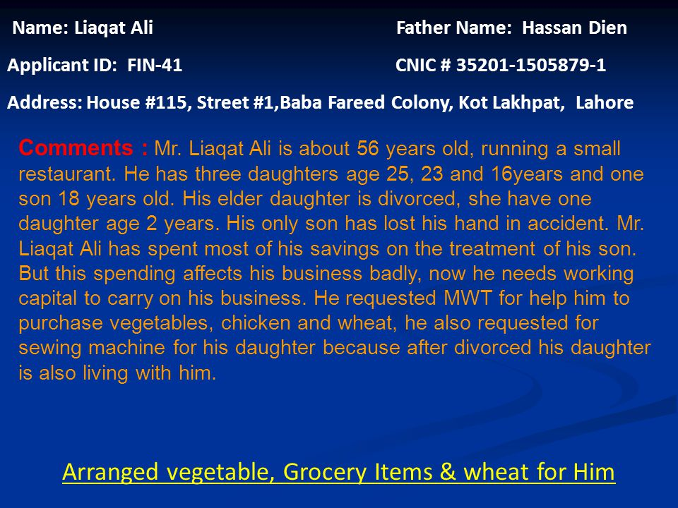Name: Nasreen Kaussar Husband Name: Abdul Razaq Khan CNIC # 35202-1212066-8 Applicant ID: FIN-40 Address: House #284- A1, Mahla pgechs, College Road T