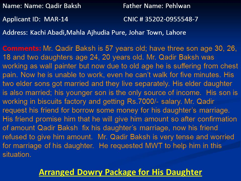 Name: Mehmood Ahmed Father Name: Siraj Deen Applicant ID: MAR-13 CNIC # 35202-7280852-5 Address: House # 5, Street # 6, Mahla Data Darbar Sheysh Mehal