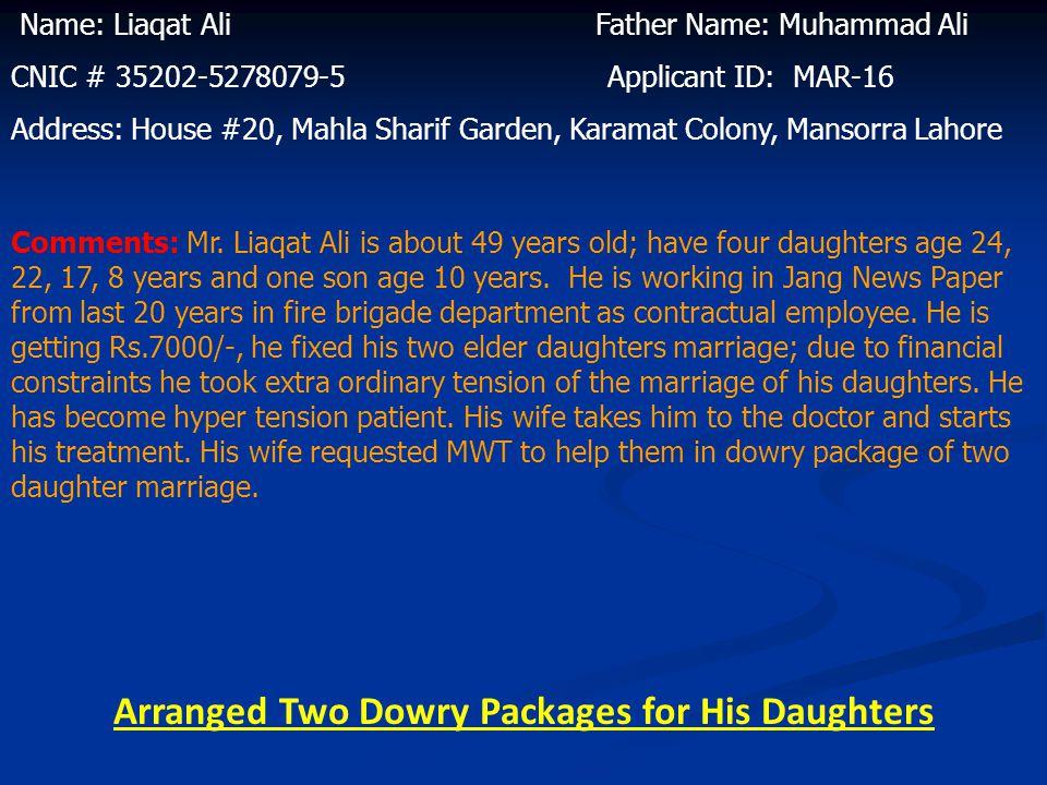 Name: Name: Khursheed Bibi Husband Name: Mubarak Ali CNIC # 35202-5317433-8 Applicant ID: MAR-15 Address: House #20, Mahla Sharif Garden, Karamat Colo