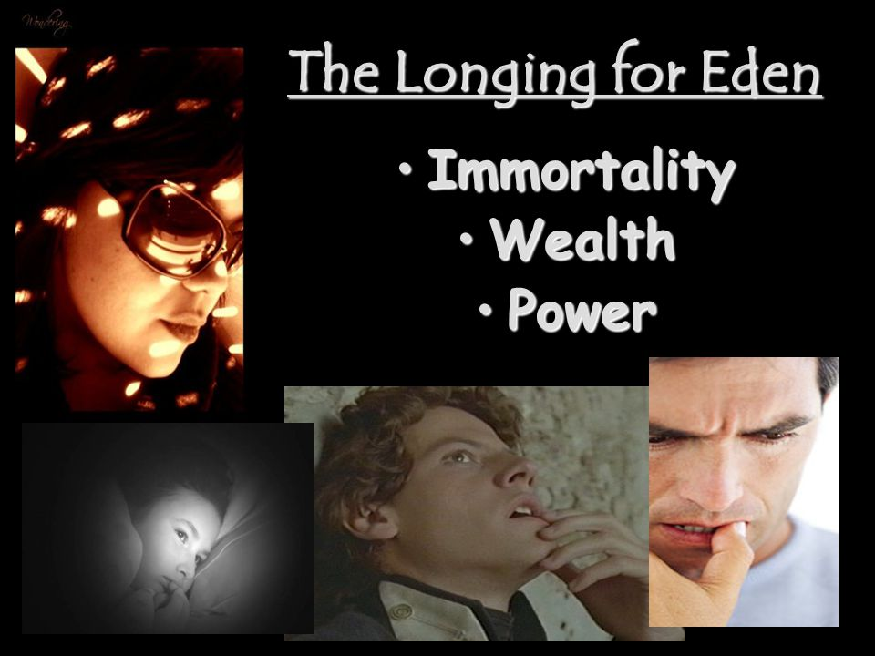 The Longing for Eden ImmortalityImmortality WealthWealth PowerPower