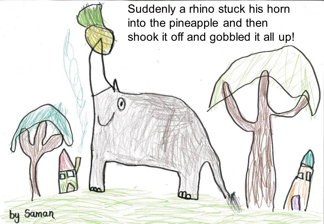 Suddenly a rhino stuck his horn into the pineapple and then shook it off and gobbled it all up!