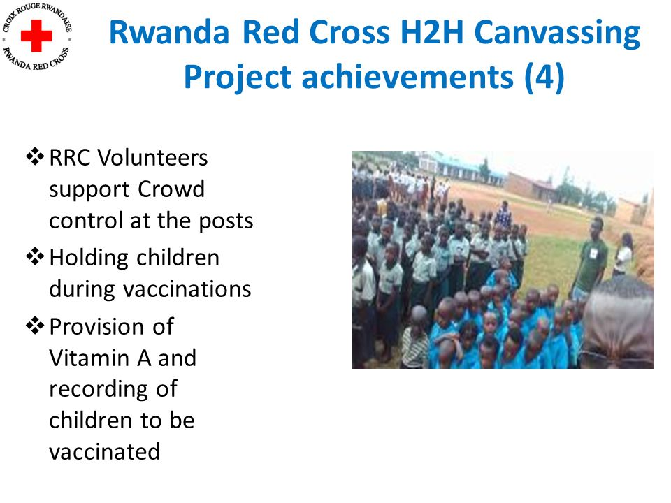  RRC Volunteers support Crowd control at the posts  Holding children during vaccinations  Provision of Vitamin A and recording of children to be vaccinated Rwanda Red Cross H2H Canvassing Project achievements (4)