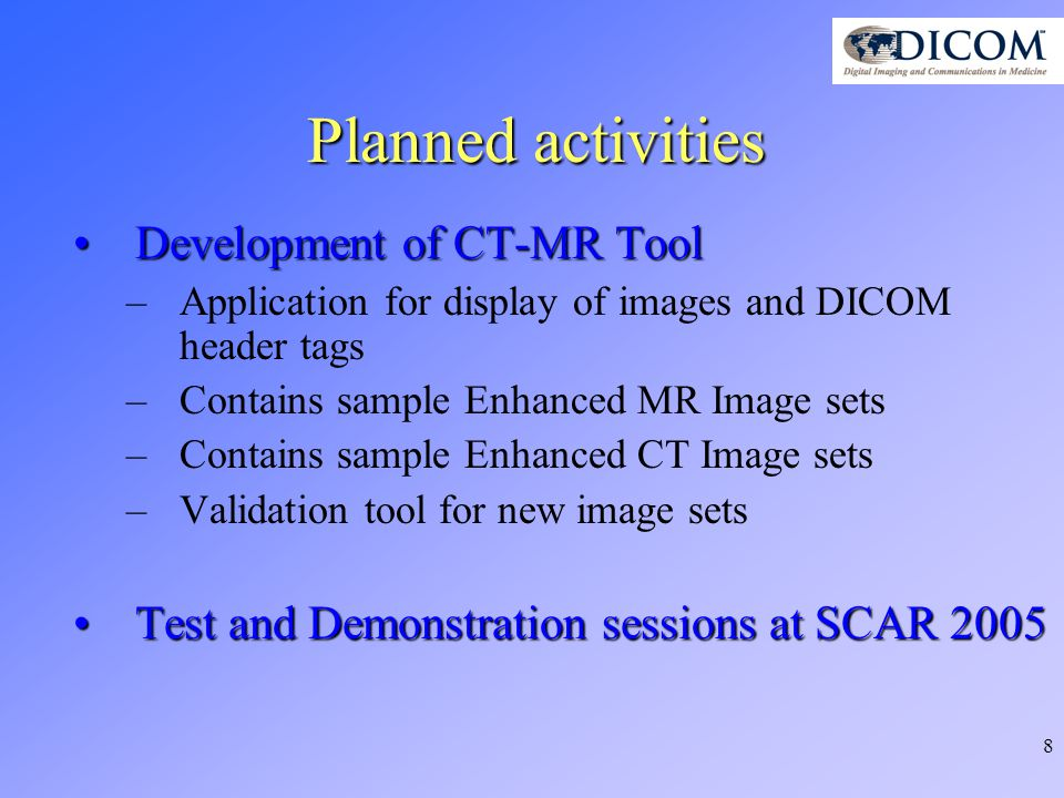 9 Current Status for SCAR 2005 SCAR Board has approved cooperation with NEMA for SCAR 2005SCAR Board has approved cooperation with NEMA for SCAR 2005 Dedicated education session (1,5 hours)Dedicated education session (1,5 hours) SCAR overseeing and hosting a testing session open to interested vendors (June 1 st and 2 nd )SCAR overseeing and hosting a testing session open to interested vendors (June 1 st and 2 nd ) A one day demonstration is under consideration (June 3 rd )A one day demonstration is under consideration (June 3 rd )