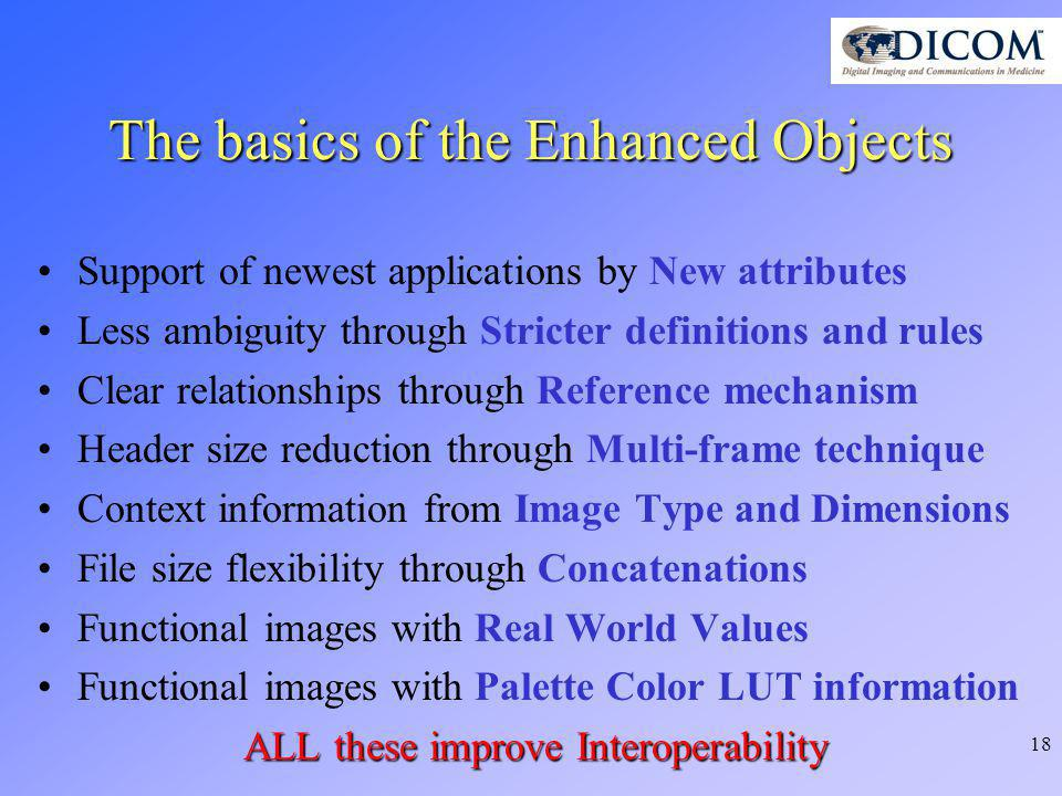 18 The basics of the Enhanced Objects Support of newest applications by New attributes Less ambiguity through Stricter definitions and rules Clear rel