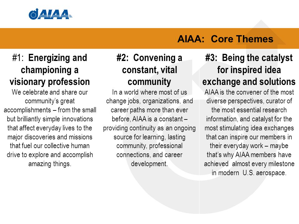 AIAA: Core Themes #1: Energizing and championing a visionary profession We celebrate and share our community's great accomplishments – from the small but brilliantly simple innovations that affect everyday lives to the major discoveries and missions that fuel our collective human drive to explore and accomplish amazing things.