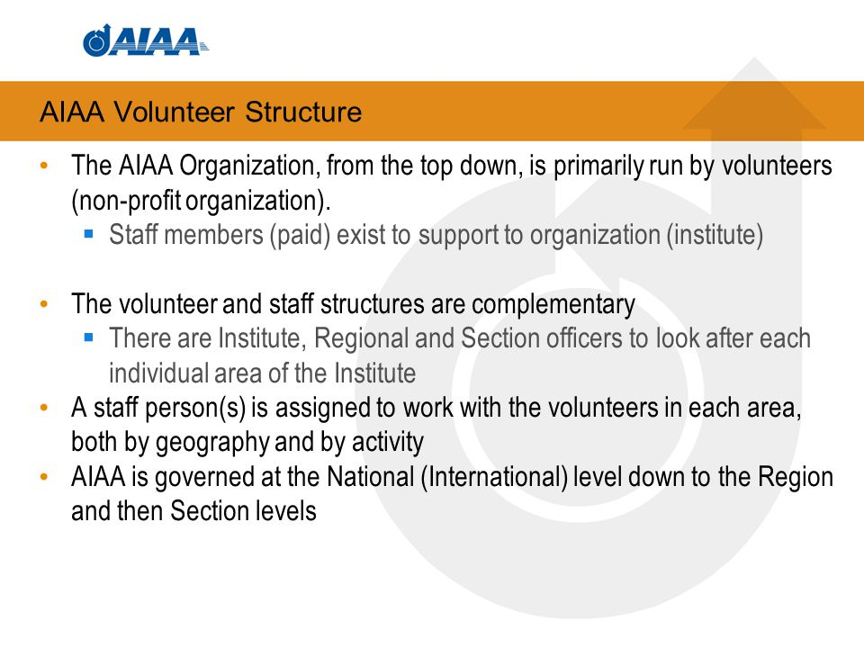 AIAA Volunteer Structure The AIAA Organization, from the top down, is primarily run by volunteers (non-profit organization).