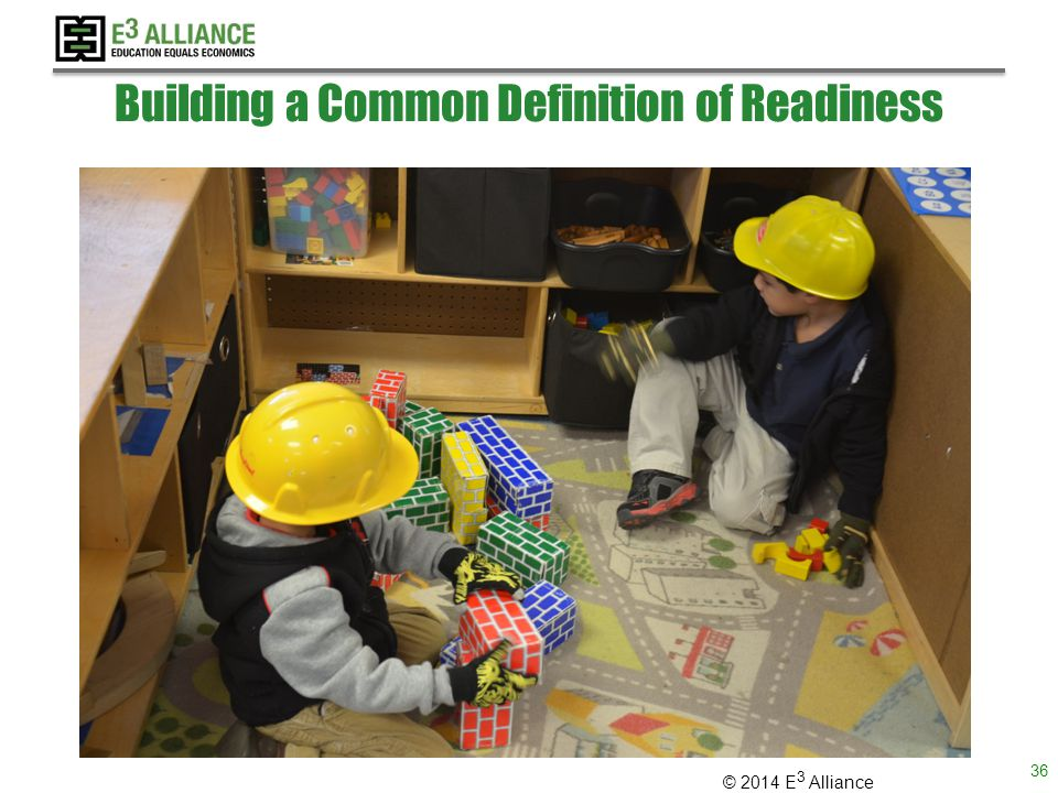 © 2014 E 3 Alliance Building a Common Definition of Readiness 36