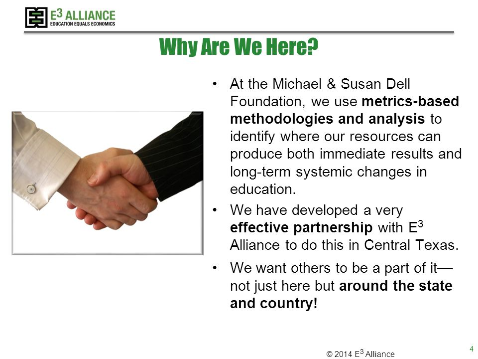© 2014 E 3 Alliance Webinar Goals 1.Share our excitement about supporting education systems change 2.Demonstrate real-world applications of action research to drive systems change in education 3.Identify partners who can:  Scale  Incubate  Leverage Services 5