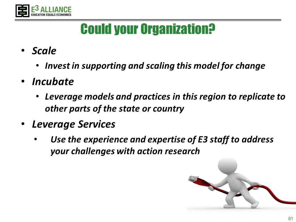 © 2014 E 3 Alliance Could your Organization.