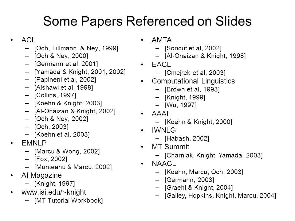 Some Papers Referenced on Slides ACL –[Och, Tillmann, & Ney, 1999] –[Och & Ney, 2000] –[Germann et al, 2001] –[Yamada & Knight, 2001, 2002] –[Papineni