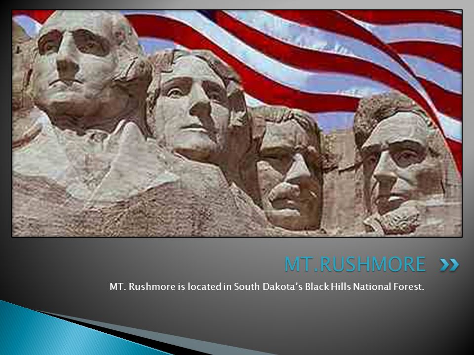 MT. Rushmore is located in South Dakota's Black Hills National Forest. MT.RUSHMORE