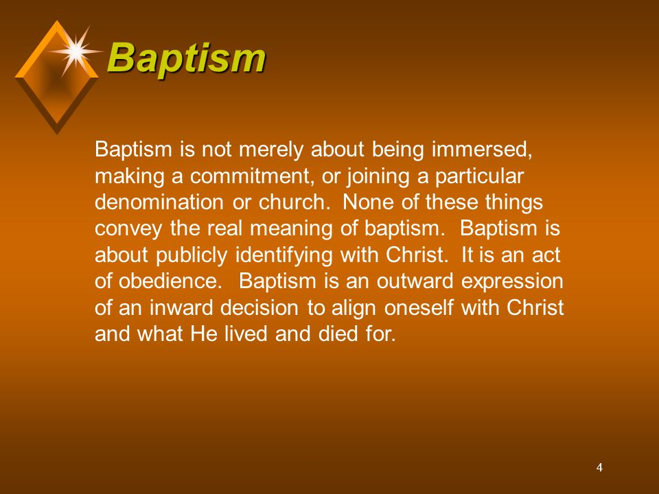 5 Baptism If you were sprinkled as a child or christened, you have not been scripturally baptized.